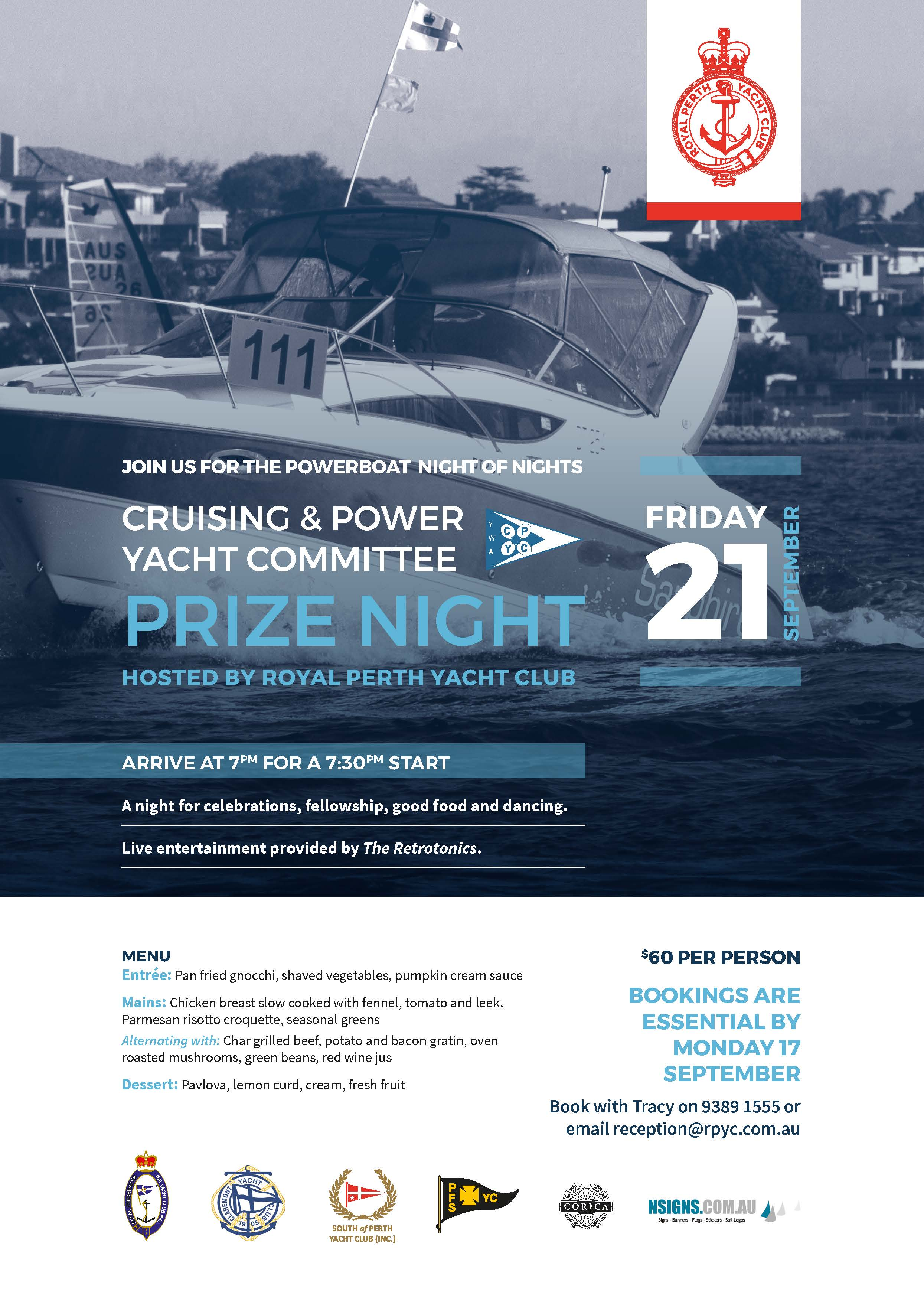 RPYC Cruising Power Prize Night A4 Poster 2018