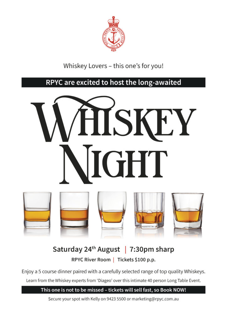 RPYC Whiskey Night A4 Poster 07 2019