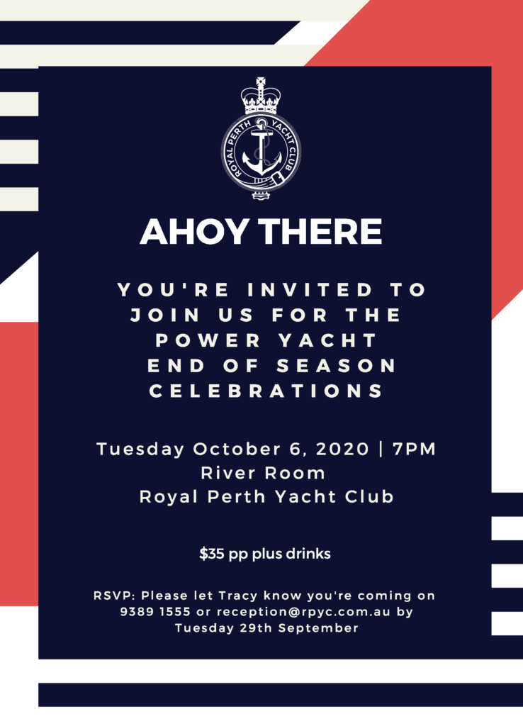 2020 Ahoy There Join us for the Power End of Season Celebrations